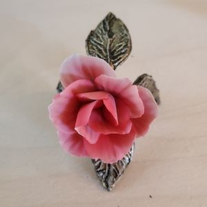 Other - Ceramic Light Red Rose with Iron Base